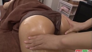 Maika bends on the table for a massage and a fuck - More at Japanesemamas com