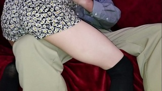 Sexy young daughter rides daddy'_s knee then his dick. Yes daddy!