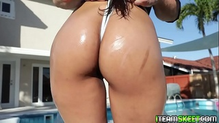 Big ass brunette lets the stud enter her wet pussy from behind!