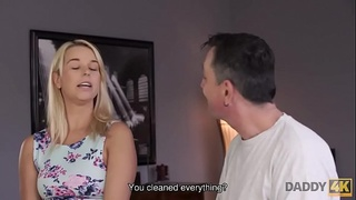 DADDY4K. Horny old man catches the right moment to seduce son&rsquo_s girl