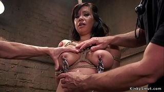 Busty Asian anal bdsm fucked for training