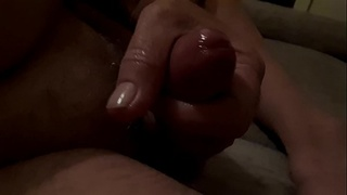 Stroking my hard wet cock 03.