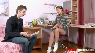 Stepbro seduces teen sis while doing her math