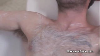 Busty Asian masseuse drilled hard in bathtub