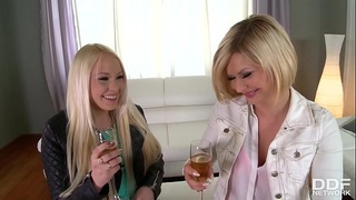 Russian blondes Lola Taylor &amp_ Angel Black deliver supreme extreme blowjob
