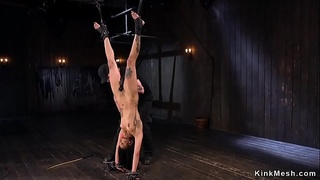 Hanged for legs ebony gets caned