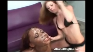 White Eats Cum Off Black Girls Face