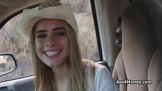 Hitchhiking cowgirl receives money for sex outdoor