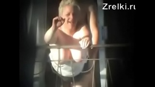 Mature busty mommy milf sex on balcony. Hidden cam
