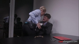 MILF babe bent over in her office