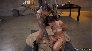 Black master brutal fucks Asian petite slave