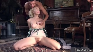 Blonde anal banged outside her saloon