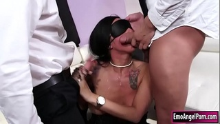 Ink punk babe sucks n double penetrated