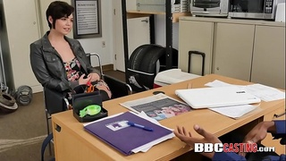 Short haired beauty is contrived into taking directors BBC
