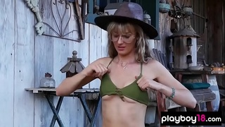Busty babes sensual striptease compilation outdoor
