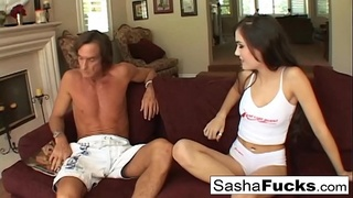 Brunette babe Sasha Grey gets double teamed by two guys