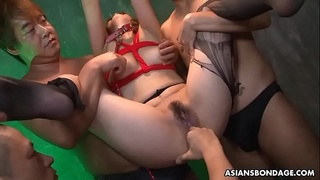 Aiko Nagai is getting doublefucked, after being tortured a bit