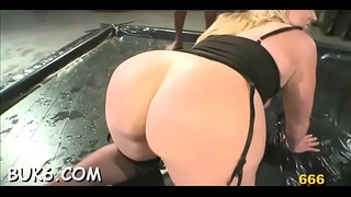 Horny dudes are delighting sweetheart with loads of lusty pissing