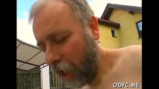 Old and juvenile do a scene with wild passionate fucking