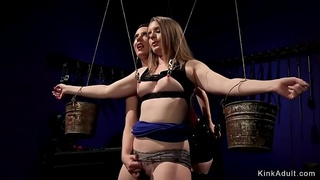 Mistress anal fucks babe with strap on