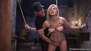 Clamped tits blonde in bondage banged