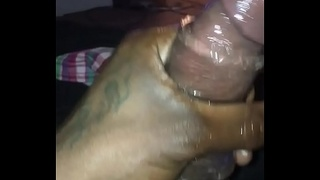 BBC jerk dick in hand with toy dick ring