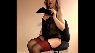 Lilithalgol is back! Beautiful British model and Milf has fun stripping and pantyhose stuffing