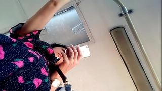 Under the skirt in a bus (female exhibitionism)