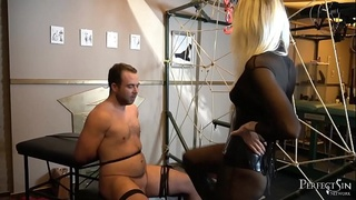 Double Kicking - Mistress Eclipse and Princess Aurora in Merciless Ballbusting Scene