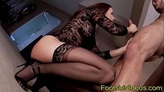 Skank in heels takes cum