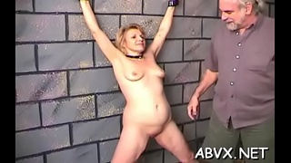 Bare woman screams with man roughly playing with her vag