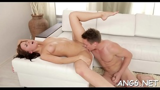 Hunk is pounding cute playgirl wildly after lusty blowjob