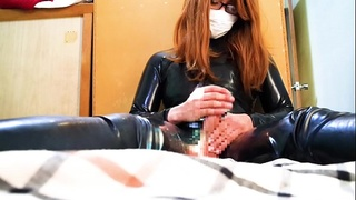 japanese Latex fetish crossdresser NATSu Toys masturebate