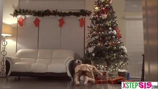 Tiny Asian stepsis wanted a dick in a box for Christmas