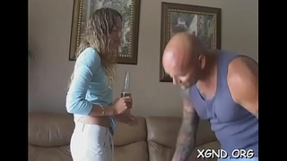 First time faced with shaking darksome cock up her throat