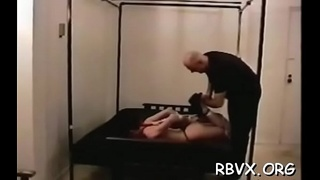 Nasty bitch relishes some real coarse bondage action