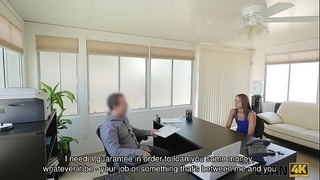 LOAN4K. Skinny miss is looking for money so man offers her dirty job