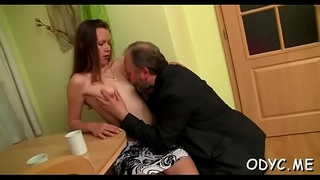Stunning old and juvenile action with hot babe seducing dad