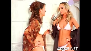Group of lesbians seeking fun having a excited orgy