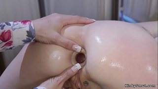 Milf doctor and blonde patient anal toying
