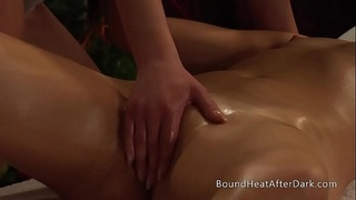 Lesbian Maid And Mistresses Intense Orgasming On Massage Table