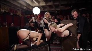 Babes fucking and whipping in orgy