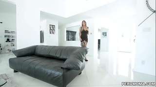 Hot momma Makayla Cox was chilling at the living room then her naughty stepson came and start fucking her on a couch.