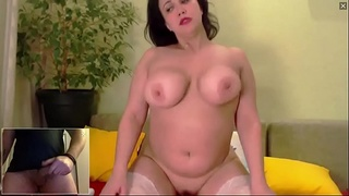 Beautiful Russian BBW Milf Squirting and Watching Me Cum on Webcam C2C