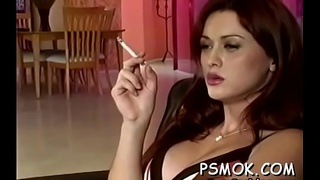Couple takes turn oraly pleasant each other during the time that smoking
