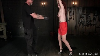 Redhead gets ass red from whipping