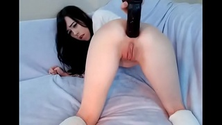 Hot girl fucked ass fingers and big dildo