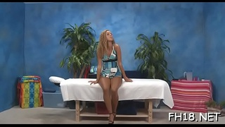 Concupiscent teen gets drilled hard by massage therapist
