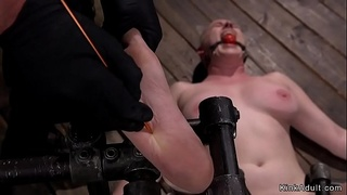 Busty hairy cunt slave in metal device