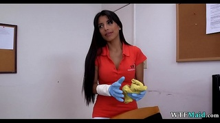Latina maid in the office